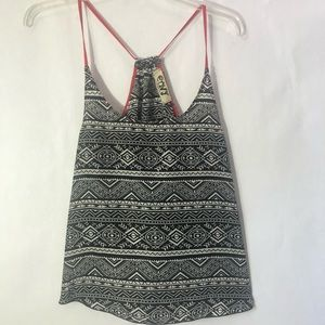 Envy Tank Top Black White and Red Size Small